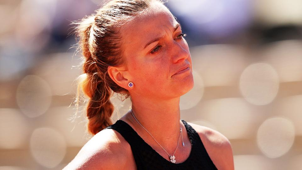 Petra Kvitova, pictured here in action during the first round at the French Open.