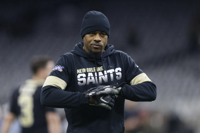 FILE - In this Nov. 24, 2019, file photo, New Orleans Saints wide receiver Ted Ginn Jr. (19) warms up before an NFL football game against the Carolina Panthers in New Orleans. The Chicago Bears have signed wide receiver Ted Ginn Jr. to a one-year contract, the team announced Monday, May 4, 2020. A 13-year veteran who has played in Super Bowls with San Francisco and Carolina, Ginn caught 30 passes for 421 yards and two touchdowns with New Orleans last season.(AP Photo/Butch Dill, File)