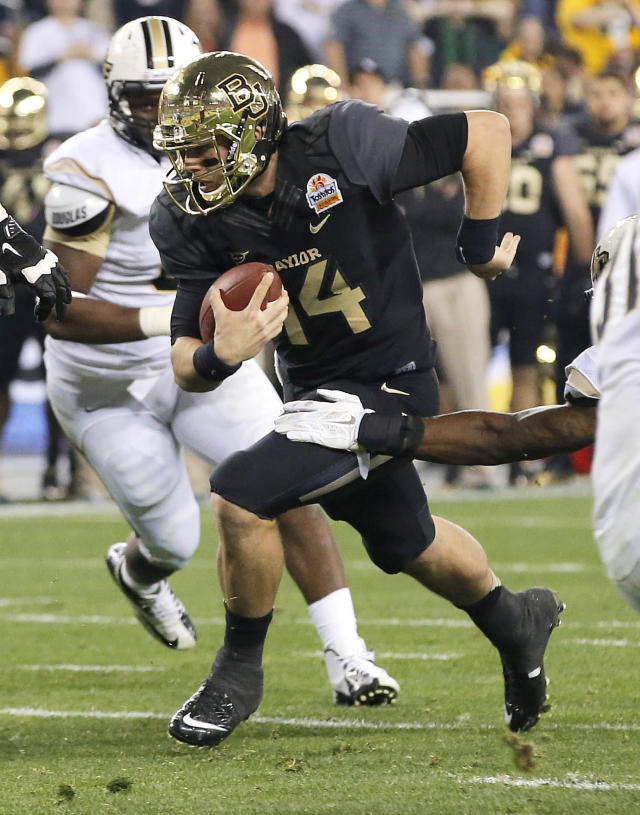 Baylor quarterback Bryce Petty (14) runs in for a touchdown against Central Florida during the second half of the Fiesta Bowl NCAA college football game, Wednesday, Jan. 1, 2014, in Glendale, Ariz. (AP Photo/Ross D. Franklin)