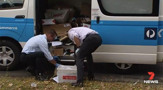Officers worked to collect all the parcels. Picture: 7 News