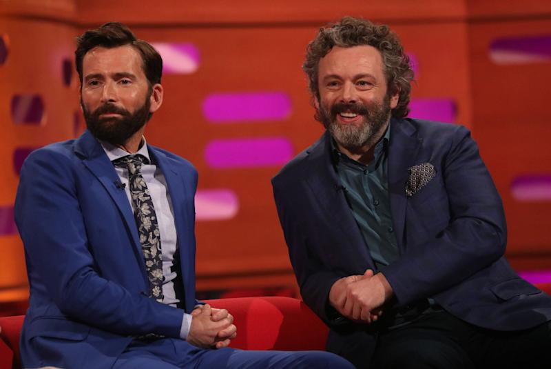 (left) David Tennant and Michael Sheen during the filming for the Graham Norton Show at BBC Studioworks 6 Television Centre, Wood Lane, London, to be aired on BBC One on Friday evening. (Photo by Isabel Infantes/PA Images via Getty Images)