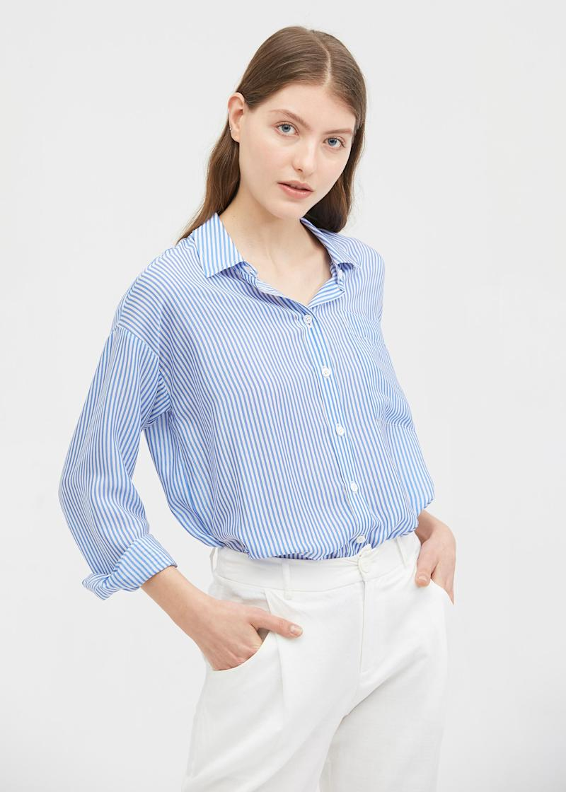 Women's Long Sleeve Striped Silk Shirt