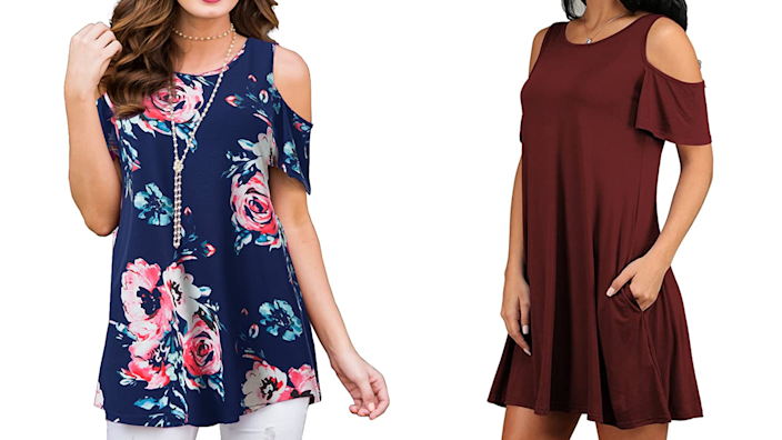 Compromise between a tank and a tee with a cold-shoulder top.