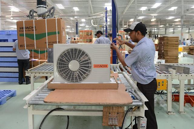 The Hitachi air conditioner factory near Kadi town, some 50 kms from Ahmedabad (AFP Photo/Sam Panthaky)