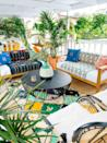 "<p>Vibrant colors can easily give a small space a lively feeling. This space designed by <a href=""http://www.oldbrandnew.com/blog/2018/4/how-i-created-my-outdoor-oasis-with-ebay"" rel=""nofollow noopener"" target=""_blank"" data-ylk=""slk:Old Brand New"" class=""link rapid-noclick-resp"">Old Brand New</a> doesn't shy away from color, pattern, or greenery.</p>"