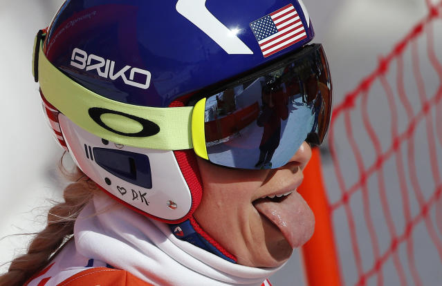 Lindsey Vonn has some fun after finishing her downhill training run at the PyeongChang Olympics. (AP Photo)
