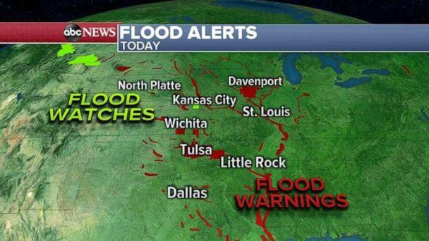 PHOTO: Flood warnings are in place along the Arkansas, Mississippi and Missouri rivers due to heavy rain over the past two weeks. (ABC News)