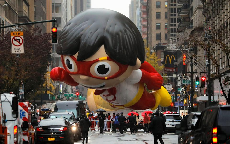 <p>A balloon depicting Red Titan, a character from Ryan's World, is seen of ahead of the 94th Macy's Thanksgiving Day Parade</p>REUTERS