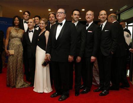 "The cast of the television series ""Veep"" arrives on the red carpet at the annual White House Correspondents' Association Dinner in Washington"