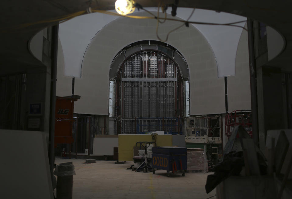 The inside of St. Nicholas Greek Orthodox Church and National Shrine is seen under construction on Thursday, July 22, 2021, in New York. The shrine will have a ceremonial lighting on the eve of the 20th anniversary of the Sept. 11, 2001 attacks, while the interior is slated for completion next year. (AP Photo/Jessie Wardarski)