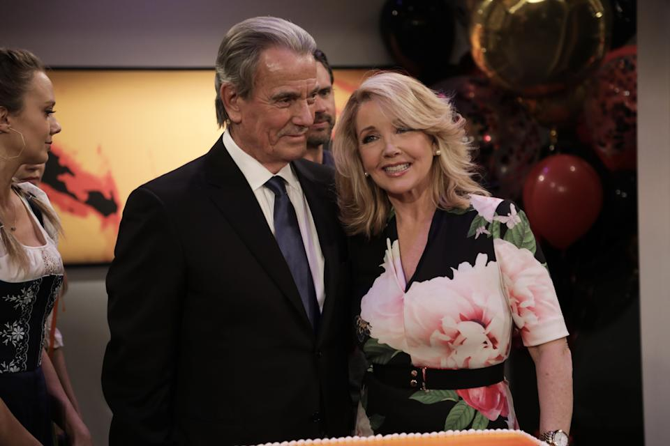 "LOS ANGELES, CALIFORNIA - FEBRUARY 07: Eric Braeden and Melody Thomas Scott at CBS' ""Young And The Restless"" Celebrates Eric Braeden's 40th Anniversary  at CBS TV City on February 07, 2020 in Los Angeles, California. (Photo by Ella Hovsepian/Getty Images)"