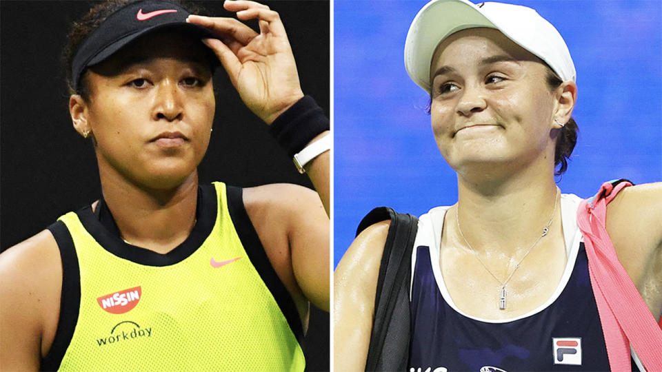 Naomi Osaka and Ash Barty, pictured here in action at the US Open.