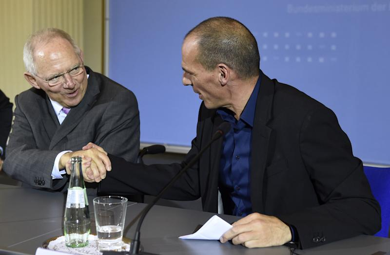 Wolfgang Schaeuble (left) meets Yanis Varoufakis on February 5, 2015 at the Finance ministry in Berlin