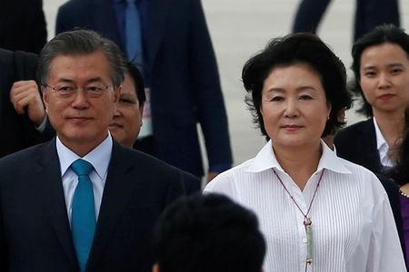 South Korea's President Moon Jae-In and his wife Kim Jung-Sook arrive for the APEC Summit in Danang