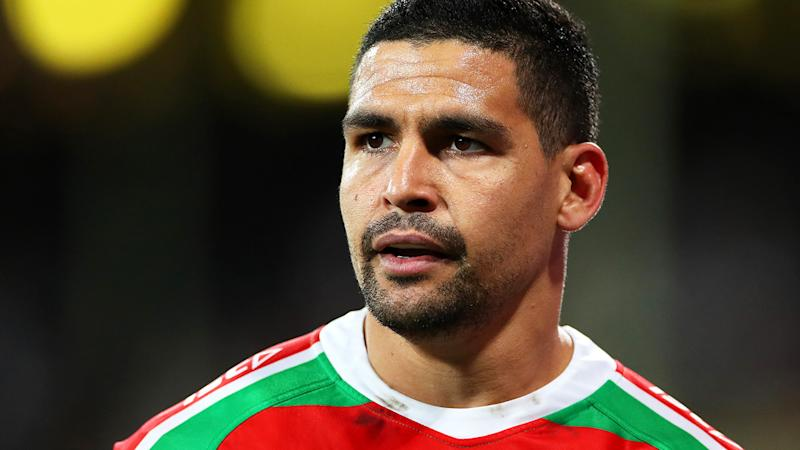 Cody Walker is pictured playing for the South Sydney Rabbitohs in the NRL.