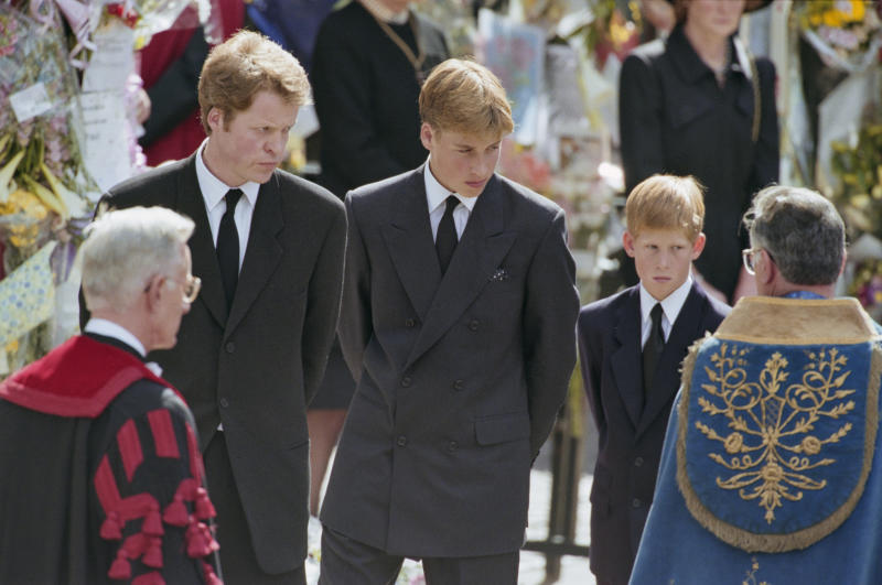 Charles Spencer, 9th Earl Spencer, brother of Diana, Princess of Wales (1961-1997), and her sons, Prince William and Prince Harry, attending the Princess's funeral service at Westminster Abbey, London, England, 6th September 1997. (Photo by Princess Diana Archive/Hulton Archive/Getty Images)