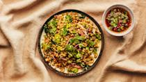 "Freekeh is green wheat with a slightly smoky flavor we love, but any whole grain you have on hand will work. This recipe from <a href=""http://dimesnyc.com/"" rel=""nofollow noopener"" target=""_blank"" data-ylk=""slk:Dimes"" class=""link rapid-noclick-resp"">Dimes</a> is part of <a href=""https://www.bonappetit.com/story/healthyish-superpowered?mbid=synd_yahoo_rss"" rel=""nofollow noopener"" target=""_blank"" data-ylk=""slk:Healthyish Superpowered"" class=""link rapid-noclick-resp"">Healthyish Superpowered</a>, a dinner series honoring female activists and chefs across the country, in partnership with <a href=""https://www.trycaviar.com/?SSAID=314743&cvosrc=affiliate.shareasale.314743&sas_click_id=a1k2_69q04&sscid=a1k2_69q04&utm_campaign=default&utm_medium=affiliate&utm_source=shareasale_publisher-id_314743"" rel=""nofollow noopener"" target=""_blank"" data-ylk=""slk:Caviar"" class=""link rapid-noclick-resp"">Caviar</a>. <a href=""https://www.bonappetit.com/recipe/grain-salad-with-pickled-onions-and-herbs?mbid=synd_yahoo_rss"" rel=""nofollow noopener"" target=""_blank"" data-ylk=""slk:See recipe."" class=""link rapid-noclick-resp"">See recipe.</a>"