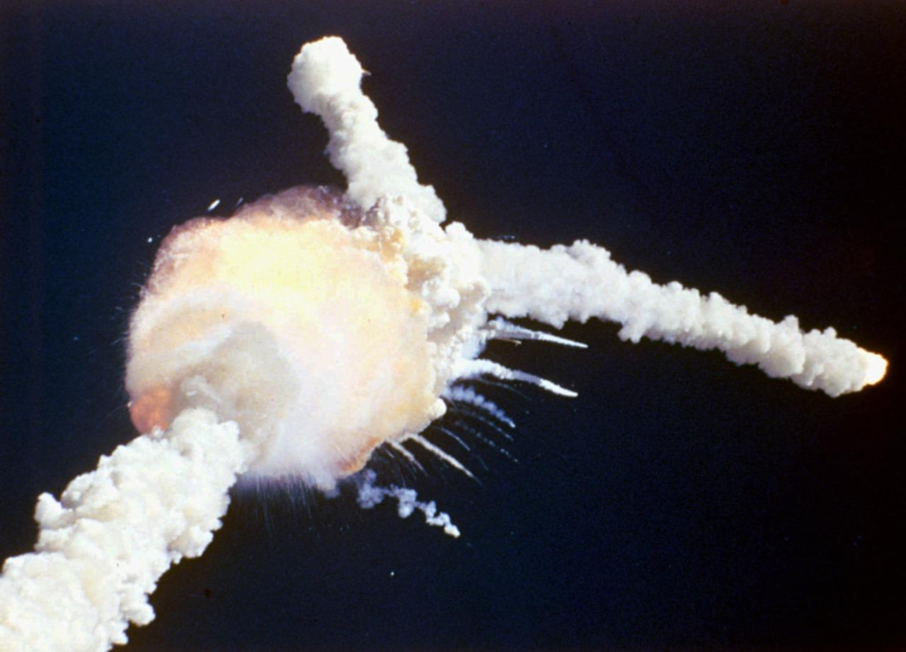 FILE--File picture from January 28, 1986, shows the explosion of space shuttle Challenger over Cap Canaveral/Florida. The space shuttle with seven astronauts onboard explodet 74 seconds after launch in 16 km height. All occupants were killed. (AP Photo/handout)