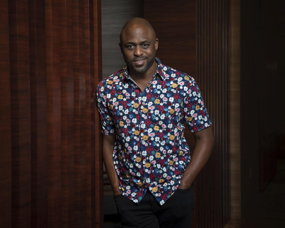 """Actor, comedian and singer Wayne Brady poses for a portrait at the Park Hyatt Hotel in New York on May 19, 2021 to promote his new spoken word track, """"A Piece by the Angriest Black Man in America (or, How I Learned to Forgive Myself for Being a Black Man in America)."""" It appears on """"Transformation: Personal Stories of Change, Acceptance, and Evolution,"""" actress Glenn Close's new spoken word jazz album with Grammy-winning jazz musician Ted Nash, released this month. (Photo by Christopher Smith/Invision/AP)"""