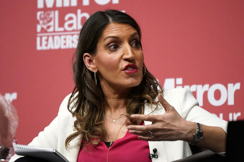DUDLEY, ENGLAND - MARCH 08: Dr Rosena Allin-Khan, MP for Tooting addresses the audience during the last Labour Party Deputy Leadership hustings at Dudley Town Hall on March 08, 2020 in Dudley, England. Ian Murray, Angela Rayner, Richard Burgon, Dr Rosena Allin-Khan and Dawn Butler are vying to become Labour's deputy leader following the departure of Tom Watson, who stood down in November last year. (Photo by Christopher Furlong/Getty Images)