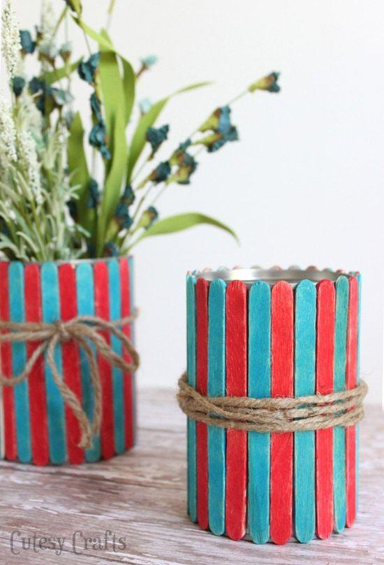 "<p>On the other hand, this craft is super easy for kids to do. After the kids paint some popsicle sticks red and blue, give them hand glueing them to a old tin jar — then you're free to use these vases for flowers, storing utensils, or whatever else you need.</p><p><em><a href=""https://cutesycrafts.com/2014/06/popsicle-stick-vases-4th-july-craft-kids.html"" target=""_blank"">Get the tutorial at Cutesy Crafts »</a></em></p>"