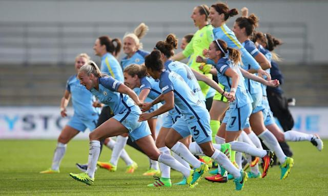 "<span class=""element-image__caption"">Manchester City's players celebrate winning the WSL, but there is less excitement about the new stopgap tournament.</span> <span class=""element-image__credit"">Photograph: Alex Livesey/Getty Images,</span>"