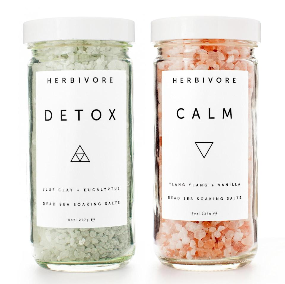 """<p>Set mind and body both at ease with these natural Pacific Ocean bath salts from Herbivore. </p><p>Buy it <a rel=""""nofollow noopener"""" href=""""https://www.herbivorebotanicals.com/products/dead-sea-bath-salts"""" target=""""_blank"""" data-ylk=""""slk:here"""" class=""""link rapid-noclick-resp"""">here</a> for $32.</p>"""