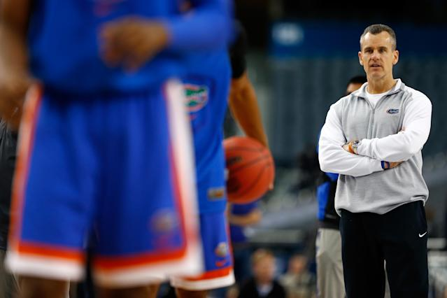 ARLINGTON, TX - APRIL 04: Head coach Billy Donovan of the Florida Gators on the court as the Gators practice ahead of the 2014 NCAA Men's Final Four at AT&T Stadium on April 4, 2014 in Arlington, Texas. (Photo by Tom Pennington/Getty Images)