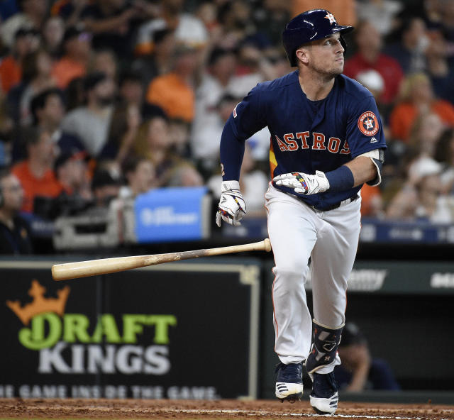 Houston Astros' Alex Bregman watches his triple during the third inning of a baseball game against the Seattle Mariners, Sunday, June 30, 2019, in Houston. (AP Photo/Eric Christian Smith)