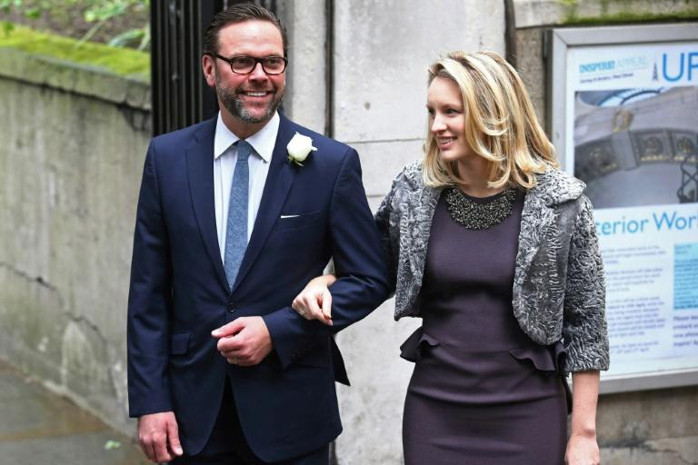 "James Murdoch and his wife Kathryn Hufschmid, seen in a 2016 photo at the wedding of his father Rupert Murdoch, had harsh words for the family's media empire for what he called climate ""denial"""