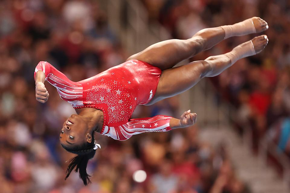 Simone Biles competes in the floor exercise during the Women's competition of the 2021 US Gymnastics Olympic Trials at America's Center on June 27, 2021 in St Louis, Missouri.