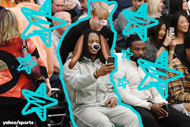 Rams running back Todd Gurley sat courtside recently to watch Bronny James. (Nicolas Lucero/Yahoo Sports)