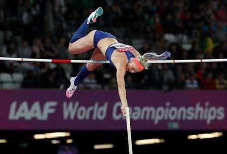 FILE PHOTO - Athletics - World Athletics Championships - Women's Pole Vault Final – London Stadium, London, Britain - August 6, 2017. Sandi Morris of the U.S. in action. REUTERS/Kevin Coombs