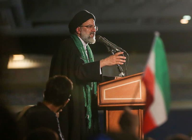 Iranian Presidential candidate Ebrahim Raisi speaks during a campaign meeting at the Mosalla mosque in Tehran