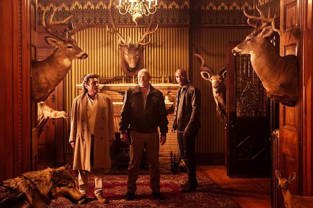 <p>Ian McShane as Mr Wednesday, Corbin Bernsen as Vulcan and Ricky Whittle as Shadow Moon in Starz' <i>American Gods</i>.<br><br>(Photo: Starz) </p>