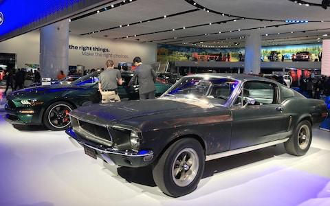 Ford Mustangs at Detroit auto show Jan 2018