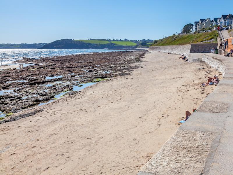 Overlooking Castle Beach on the seafront at Falmouth Cornwall England England UK Europe