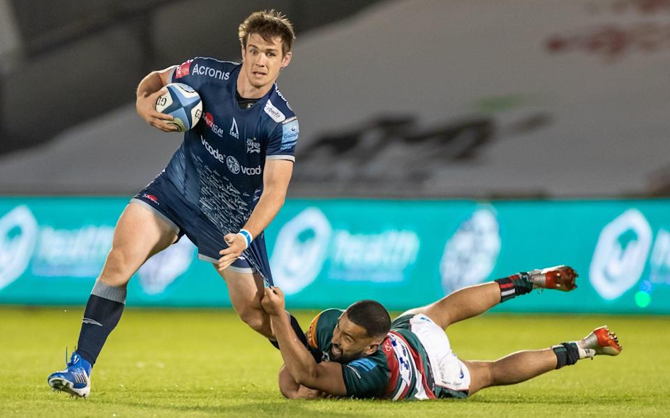 AJ MacGinty kicked 16 points to overhaul Danny Cipriani as Sale's second highest Premiership points scorer - ROGER EVANS