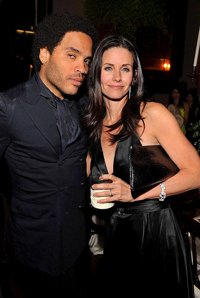 """Legendary rocker Lenny Kravitz cozies up with his buddy, and fellow art enthusiast, Courteney Cox Arquette. Lester Cohen/<a href=""""http://www.wireimage.com"""" target=""""new"""">WireImage.com</a> - January 12, 2008"""
