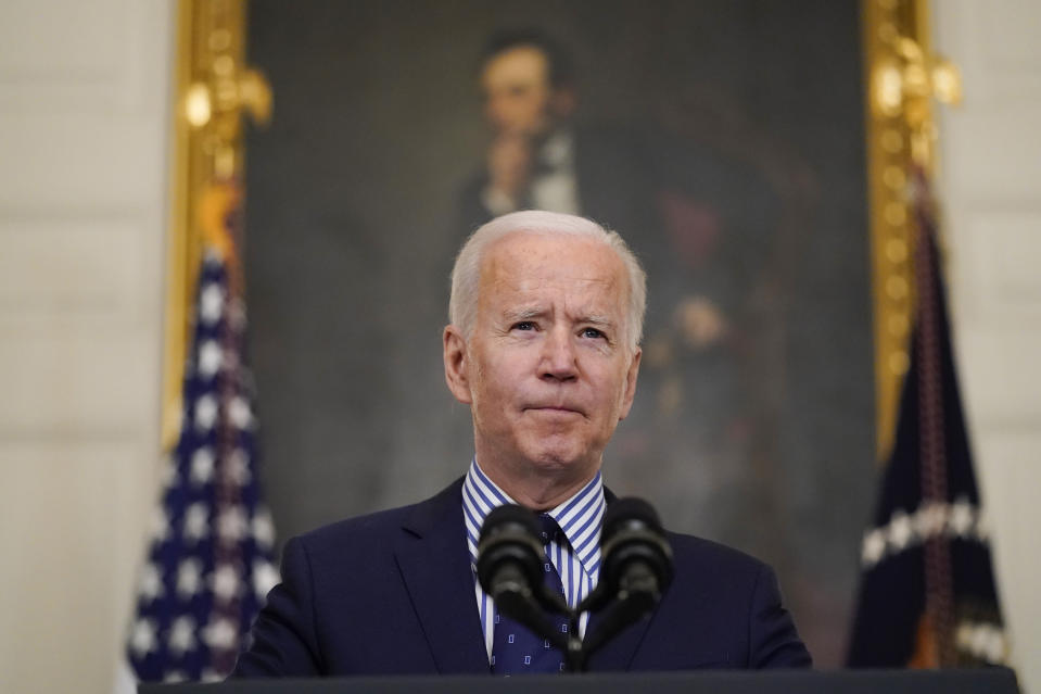 President Joe Biden speaks in the State Dining Room of the White House, Saturday, March 6, 2021, in Washington. The Senate approved a sweeping pandemic relief package over Republican opposition on Saturday, moving Biden closer to a milestone political victory that would provide $1,400 checks for most American and direct billions of dollars to schools, state and local governments, and businesses. (AP Photo/Alex Brandon)