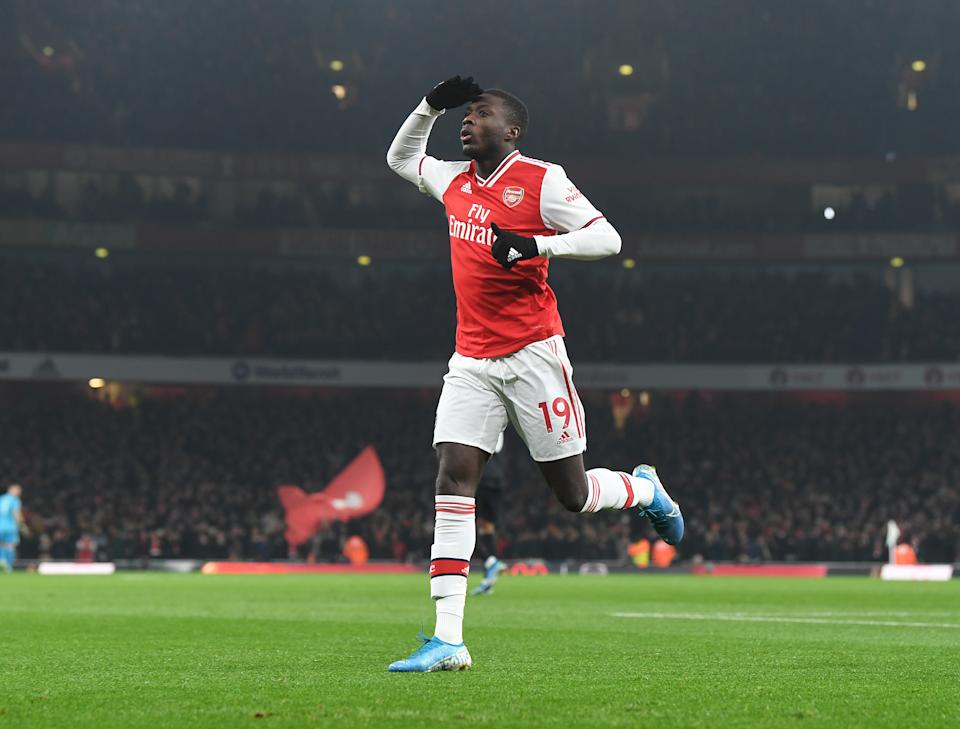 Nicolas Pepe looked dangerous against Manchester United. (Photo by Stuart MacFarlane/Arsenal FC via Getty Images)
