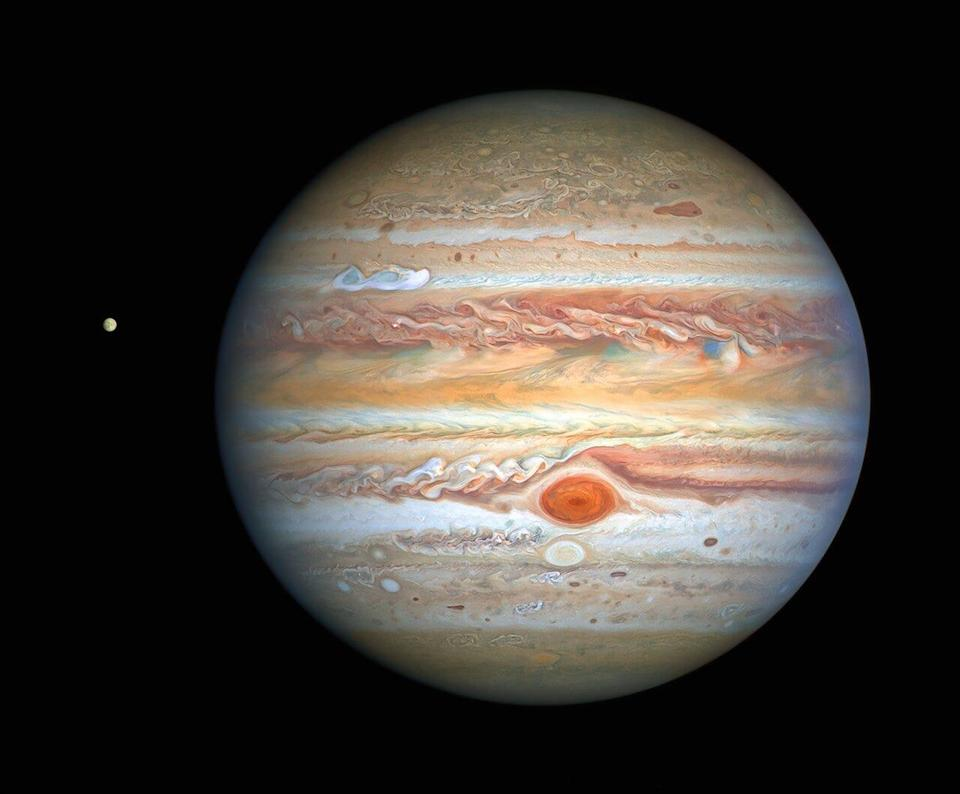 This image of Jupiter was taken by the Hubble Space Telescope on August 25, 2020. Hubble's sharp view is giving researchers an updated weather report on the monster planet's turbulent atmosphere.