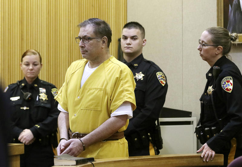 Paul Caneiro appears for his arraignment in the murders of his brother and his brother's family, before Judge Joseph W. Oxley at the Monmouth County Courthouse in Freehold, NJ Monday, March 18, 2019. The New Jersey businessman pleaded not guilty to felony murder and other charges. (Tanya Breen/NJ Advance Media via AP, Pool)
