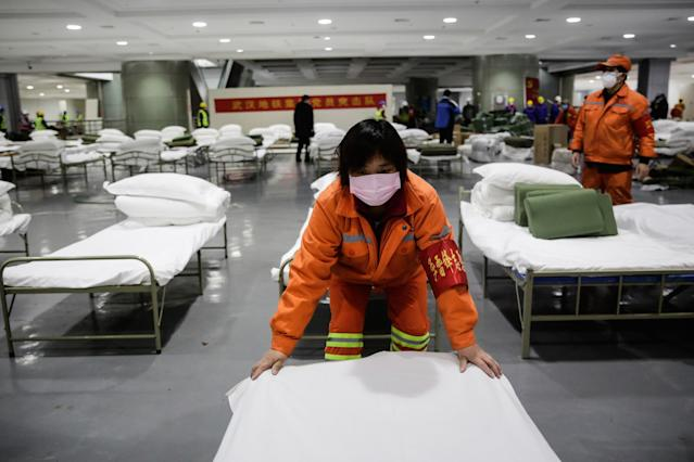 Hospital temporal en China para pacientes de coronavirus. (Getty Images)