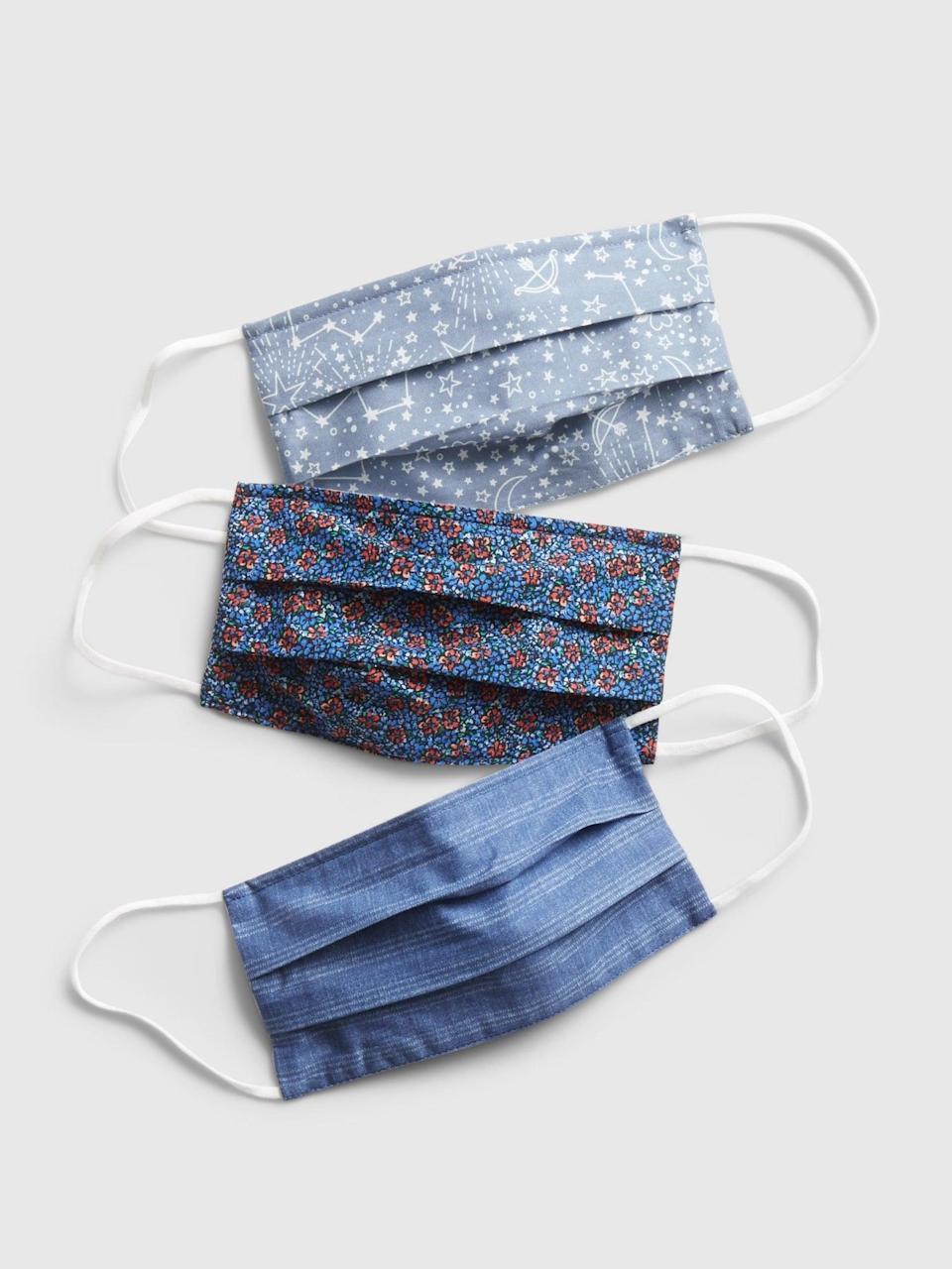 <p>Reach for the stars with <span>this three-pack of face masks</span> ($15) from Gap. These triple-layered masks include one blue striped pattern, one autumn-colored floral print, and one light gray mask covered in tiny pictures of the constellations.</p>