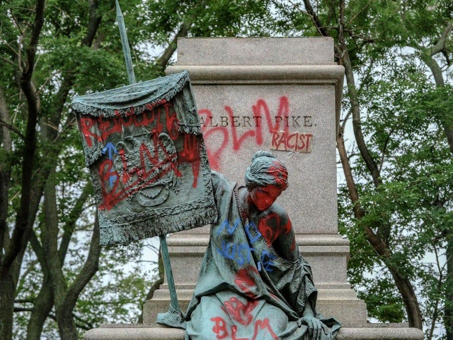 The pedestal where the statue of Confederate general Albert Pike remains empty after it was toppled by protesters at Judiciary square in Washington, DC on June 20, 2020