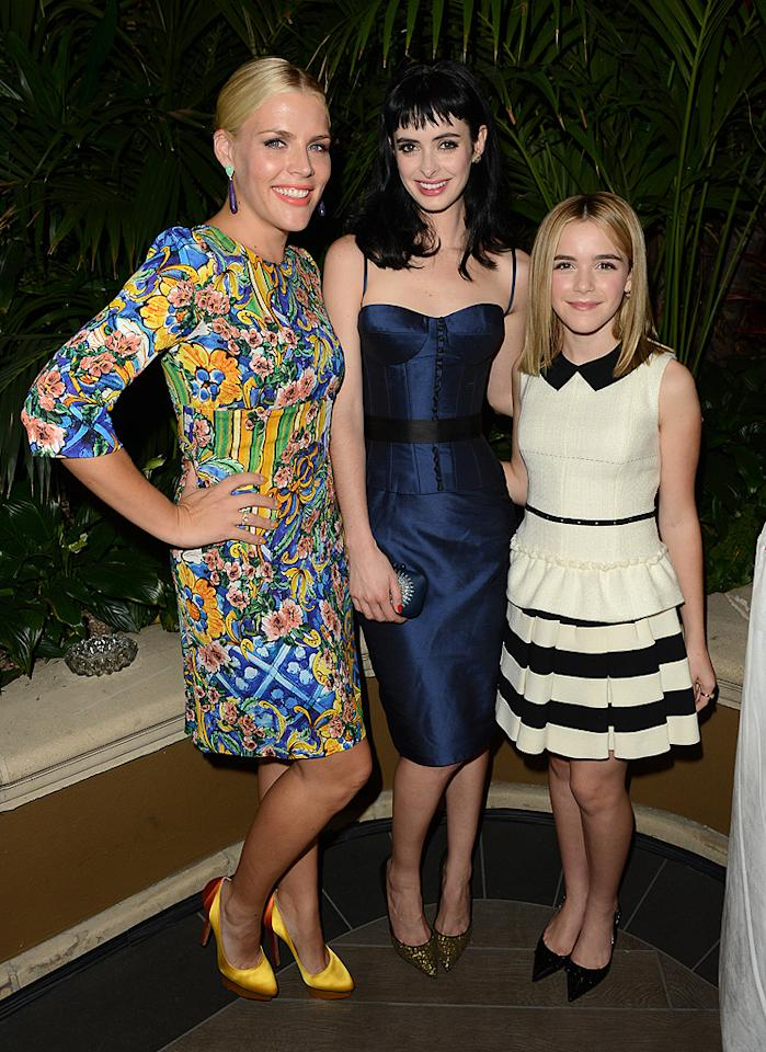 BEVERLY HILLS, CA - OCTOBER 15:  (L-R) Actors Busy Phillpps, Krysten Ritter and Kiernan Shipka attend ELLE's 19th Annual Women In Hollywood Celebration at the Four Seasons Hotel on October 15, 2012 in Beverly Hills, California.  (Photo by Jason Merritt/WireImage)