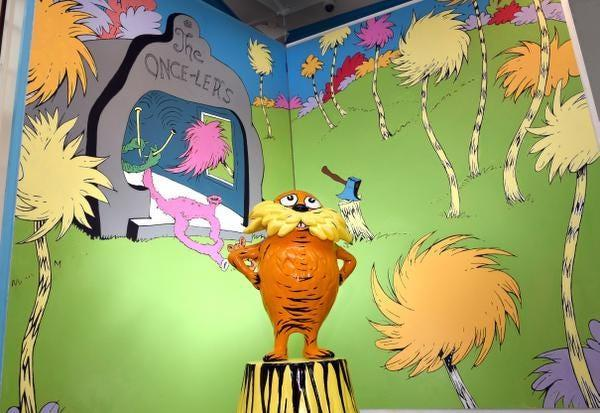 A sculpture of the Lorax is displayed at the Amazing World of Dr. Seuss Museum in Springfield, Massachusetts, the home town of Dr. Seuss - whose real name is Theodor Seuss Geisel. The just-opened museum features activities for kids and a chance to see the author's studio, frozen in time. MUST CREDIT: Springfield Museums