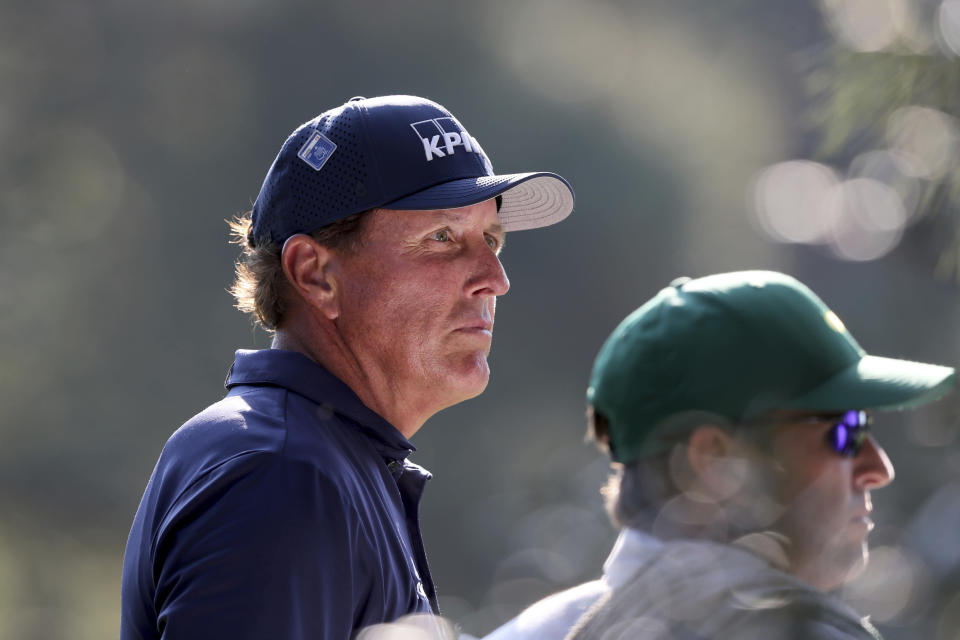 Phil Mickelson waits to tee off on the 15th hole during the third round of the Masters Saturday, Nov. 14, 2020, in Augusta, Ga. (Curtis Compton/Atlanta Journal-Constitution via AP)