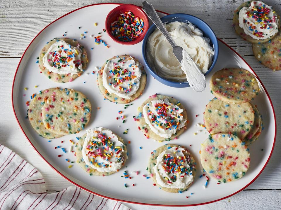 "<p><strong>Recipe: <a href=""https://www.southernliving.com/recipes/funfetti-sugar-cookies"" rel=""nofollow noopener"" target=""_blank"" data-ylk=""slk:Funfetti Sugar Cookies"" class=""link rapid-noclick-resp"">Funfetti Sugar Cookies</a></strong></p> <p>We love baking homemade versions of store-bought favorites, and these colorful cookies are going to absolutely thrill the grandkids.</p>"